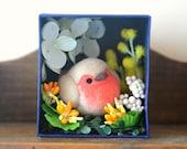 Robin bird diorama, handmade bird figurine in flower garden shadow box, miniature needle felt bird doll, home decor ornament, gift under 30