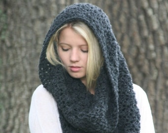 Trick Or Treat SALE Crochet Cowl Scarf / THE PUMORI /  Textured Loop Shawl Hood Scarf Dark Gray Heather
