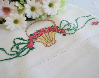 Single Vintage Pillowcase, Flower Basket Pink Daisies, Lightweight Cotton Blend, Hand Embroidered, Vintage Linens by TheSweetBasilShoppe