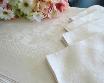 Vintage Damask Tablecloth w 6 Matching Napkins, 57 x 51, Pale Beige, Tablecloth Set, Elegant Dinning, Vintage Linens by TheSweetBasilShoppe