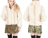 70's Vintage Cream Rabbit Fur Bomber Lined Zip Up Jacket  Coat