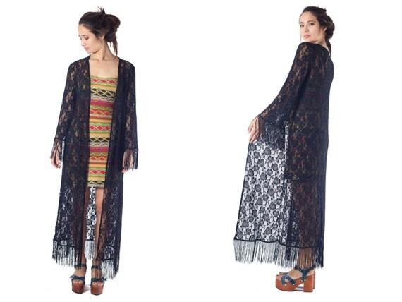 black lace kimono duster fringe lace kimono floor length jacket festival resort wear boho kimono gypsy open front draping maxi sweater S M L