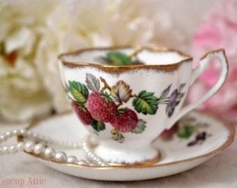 ON SALE Queen Anne Fruit Series Teacup and Saucer, English Bone China Tea Cup Set, Replacement China, ca 1940-1960