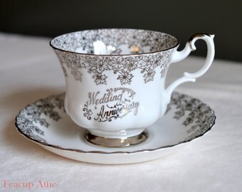 Royal Albert Silver Wedding Anniversary Teacup and Saucer Set, English Bone China Tea Cup Set, ca. 1960-1970