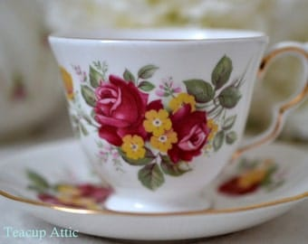 Royal Vale Teacup and Saucer With Red And Yellow Flowers, English Bone China Tea Cup and Saucer, Wedding Garden Tea Party, ca. 1955-1964