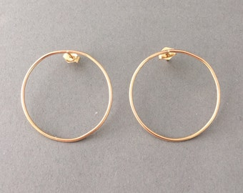 Large Circle Hoop Stud Post Earrings Gold Fill, Rose Gold Fill, or Sterling Silver