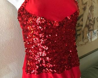 Vintage Red Hot Sequin Leotard Dance Costume. Devil, Circus, Burlesque, Tap. Adult L/XL