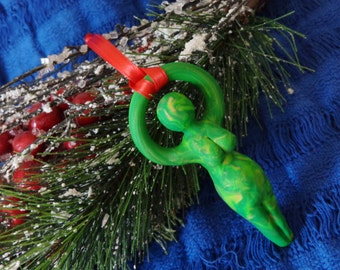 Green Nile Goddess Yule Ornament. Winter Solstice Ornament. Pagan Ornament. Christmas.