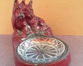 Antique Nuart Creations NYC Two Scottie Dogs Ashtray/Tip Tray/Trinket Tray Molded Metal 1920s/1930s HTF Oriental Red