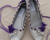 Purple Wedges Shoes Low wedge heel, Bridal shoes Crystals purple trimmed Satin White or Ivory, peep toe, beautifully embellished with lace