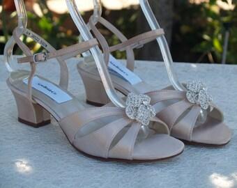 Champagne WEDDING Shoes Low Heel Open Toe Short Square Sandal B W WW Width Comfortable