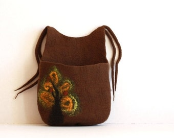 SALE Hanging basket, toys organizer, felted wool bag, brown with yellow and green tree hanging bag - Weddings gift