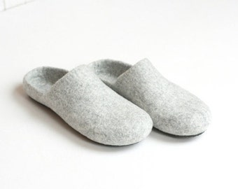 SALE Wool clogs - felted slippers for women or men - natural house shoes - Valentine day gift - made to order - unisex slippers