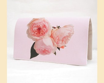 clutch bag with pink roses digital print, handmade evening bag with cream interior, optional personalisation
