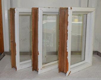 3 Cased Window Panes Salvaged from Vintage Door