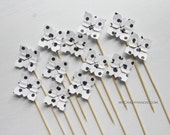 SALE 15% OFF . 12 origami petal cake toppers . party picks . wedding toppers . table decorations . origami flowers  -black cow dots