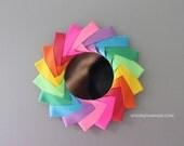origami purse mirror | makeup mirror | rainbow mirror || bridesmaids gift || gift for her -rainbow