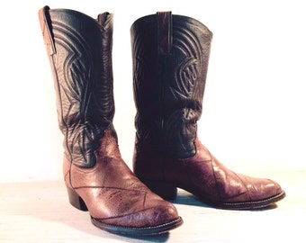 Vintage Custom Cowboy Boots, Patchwork Exotic Skin & All Leather, Men's size 10.5 D