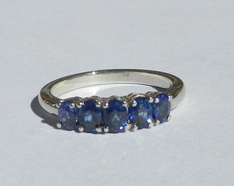 Natural 1.17 Carat Ceylon sapphire 5 Stone Ring 14kt Solid Gold W/ GIA G.J.G. Appraisal