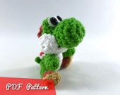 "PDF Pattern for Crocheted Yoshi from Super Mario Bros Amigurumi Kawaii Keychain Miniature Doll ""Pod People"""
