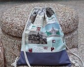Drawstring backpack/ Drawstring bag/ gym bag ~ Newspaper (B65)