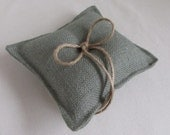 seaside blue almost square Burlap Ring Pillow