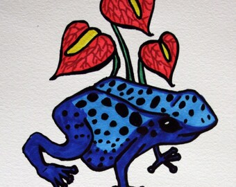 Handcolored Screen Print - Poison Dart Frog with Anthurium