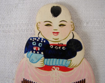 vintage dolls or childs miniature 2'' kushi style comb, painted, laquered wood, stamped, numbered