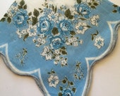 Vintage Hankie Handkerchief Blue  Floral Design