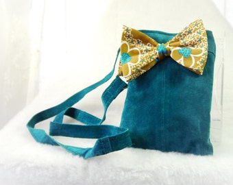 Small Purse, Small Shoulder Bag, Small Suede Purse, Teal Satchel,Upcycled Suede Bag Again