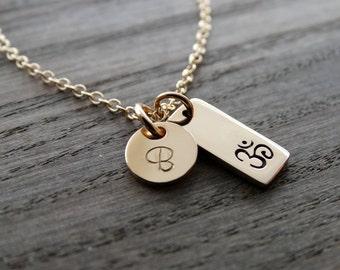 Ohm Necklace Gold Ohm Necklace Om Gold Necklace Gold Filled Necklace Yoga Om Pendant