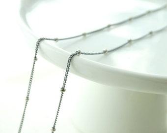Oxidized silver chain Oxidized chain necklace Oxidized Silver Satellite Chain Necklace Oxidized Silver Beaded Chain Necklace Sterling Silver