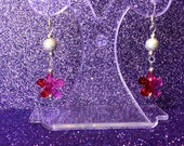 Earrings Funky Flower Red and Pink  Dropper Dangle by JulieDeeleyJewellery on Etsy