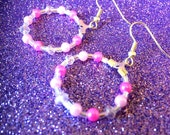 Light and Dark Pink Pearl and pink faceted crystal and clear AB Seed bead Glass Hoop Fashion Trend Earrings handmade by JulieDeeleyJewellery