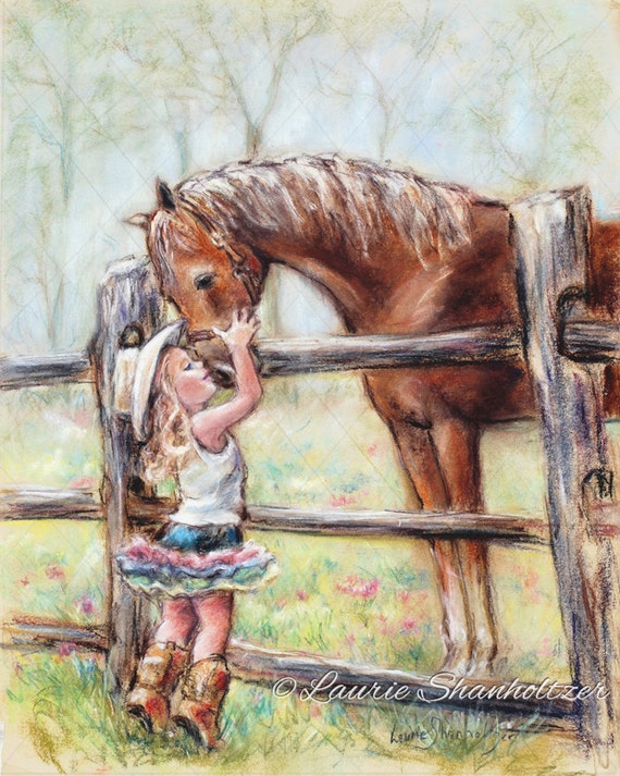 """girl and horse, canvas and paper art , Cowgirl, horse painting """"COWGIRL WHISPERS"""" western decor, art for kids, Laurie Shanholtzer"""