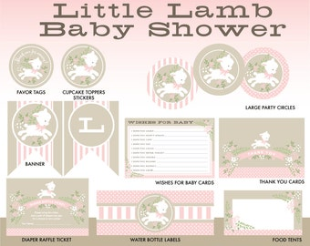 Little Lamb Shower Party Printables, Lamb Baby Shower Party Package, Sheep Shower Decorations