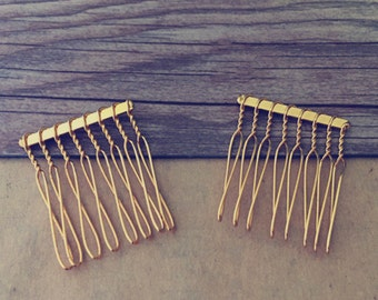 25 Pcs  31mmx39mm (8teeth)  gold color Hair Combs