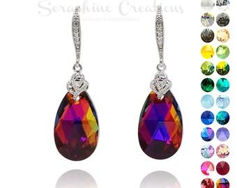 Volcano Crystal Earrings Multicolor Crystal Earrings Swarovski Wedding Jewelry Rainbow Bridesmaid Earrings Cubic Zirconia Earrings Gift K012