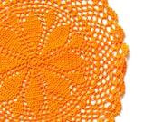 Orange hand dyed Crochet Doily Vintage doily