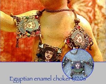 1920s enameled king tut Egyptian necklace