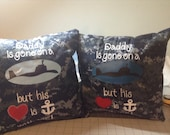NWU US Navy digital camo pillow for kids. Daddy is gone on a submarine.