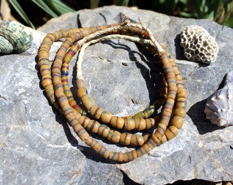 2 Strands Vintage African Trade Beads, Pressed Glass, Sand Cast, Beads Traveling the Globe, T. 62