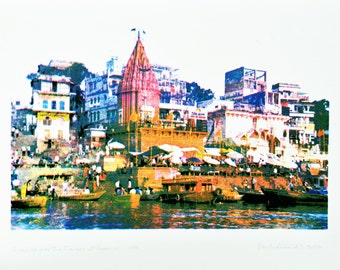 Sunrise over the Ganges at Varanasi : A limited edition silkscreen print