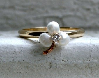 Sweet Vintage Pearl and Diamond Shamrock Ring in 14K Yellow Gold.