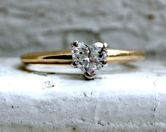 Vintage 14K Yellow Gold Heart Diamond Solitaire Engagement Ring.