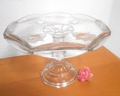 Vintage Tall Glass Cake Stand, Cake Salver, Antique Pressed Glass Dessert Pedestal, Cake Plate