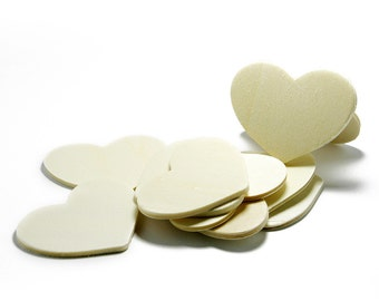 """100 Wood Heart Cut Outs, 2"""" x 1.5"""", Natural Wood Heart  for Crafting,  Staining, Painting, (#H200)"""