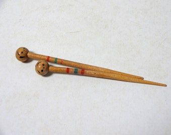 2pc 2.8in Vintage Japanese Miniature Wood KOKESHI Doll Pick Stick