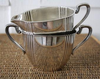 silver creamer and sugar bowl set, creamer and sugar bowl set, Art Deco, Art Deco style, silver plate