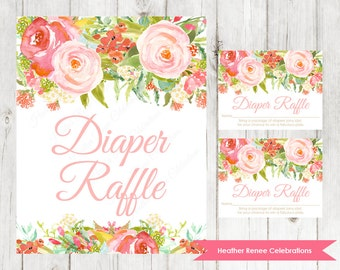 Floral Baby Shower Diaper Raffle Ticket and Sign | Printable Garden Baby Shower Game | Watercolor Baby Sprinkle Instant Download